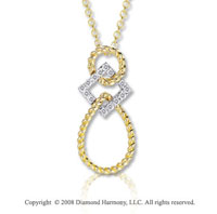 14k Two Tone Gold Diamond Rope Tear Drop Necklace